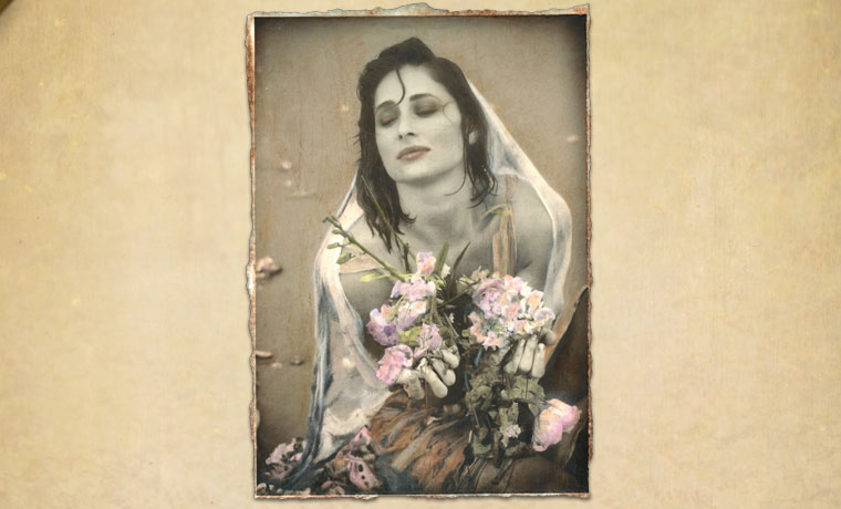 Bethany Flowers, encaustic hand-painted photograph