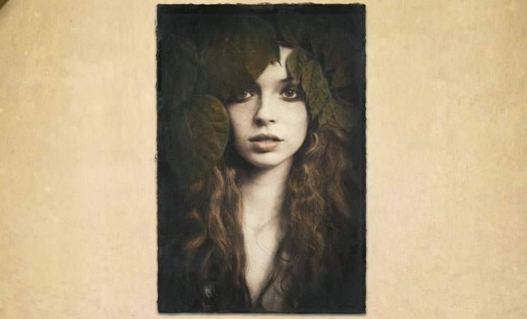 Earth Girl, encaustic hand-painted photograph