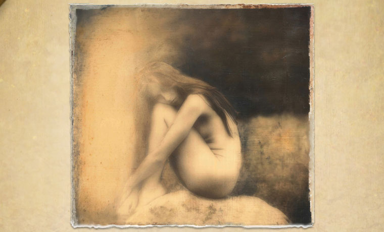 Gentle (painted), encaustic hand-painted photograph